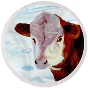 Cow A Bunga Round Beach Towel