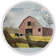 Cow And Barn Round Beach Towel by Norm Starks