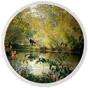 Cow By The Pond Round Beach Towel