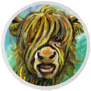 Cow Face 101 Round Beach Towel