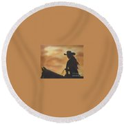 Cow Girl At Sunset Round Beach Towel