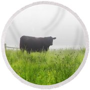 Cow In Fog Round Beach Towel
