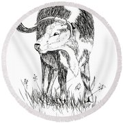 Cow In Pen And Ink Round Beach Towel