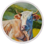 Cow Lying Down  Round Beach Towel