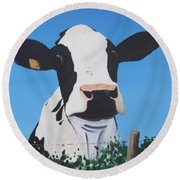 Cow On A Ditch Round Beach Towel