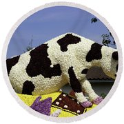 Cow On Clog 3 Round Beach Towel
