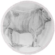 Cow Pencil Drawing Round Beach Towel