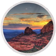 Cow Pies Sunset Round Beach Towel