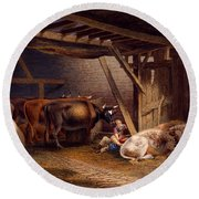 Cow Shed Round Beach Towel