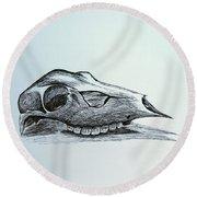 Cow Skull 2 Round Beach Towel