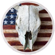 Cow Skull On Folk Art American Flag Round Beach Towel by Garry Gay