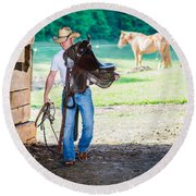 Cowboy 2 Round Beach Towel