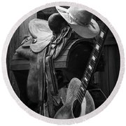 Cowboy Acoustic Guitar Round Beach Towel