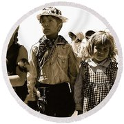 Cowboy And Indian Armory Park Tucson Arizona Black And White Toned Round Beach Towel