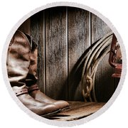 Cowboy Boots In Old Barn Round Beach Towel