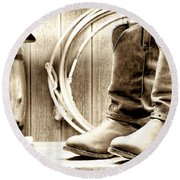 Cowboy Boots Outside Saloon Round Beach Towel by Olivier Le Queinec
