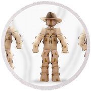 Cowboy Box Characters On White Round Beach Towel