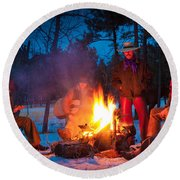 Cowboy Campfire Round Beach Towel
