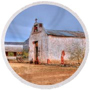 Cowboy Church Round Beach Towel by Tap On Photo