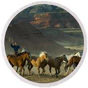 Cowboy Driving Horses Round Beach Towel