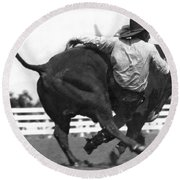 Cowboy Falling  From Bull Round Beach Towel