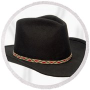 Cowboy Felt Hat Round Beach Towel by Olivier Le Queinec