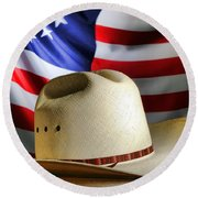 Cowboy Hat And American Flag Round Beach Towel