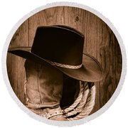 Cowboy Hat And Boots Round Beach Towel