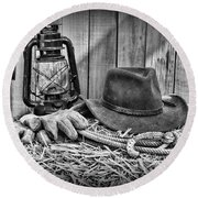 Cowboy Hat And Rodeo Lasso In A Black And White Round Beach Towel by Paul Ward