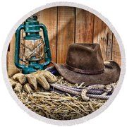 Cowboy Hat And Rodeo Lasso Round Beach Towel by Paul Ward