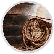 Cowboy Hat On Hay Bale Round Beach Towel