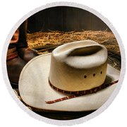 Cowboy Hat On Lasso Round Beach Towel