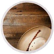 Cowboy Hat On Wood Round Beach Towel