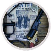 Cowboy - Law And Order Round Beach Towel by Paul Ward