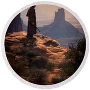 Cowboy On A Cliff Round Beach Towel