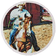 Cowboy On Paint Round Beach Towel