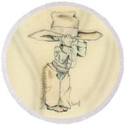 Cowboy Round Beach Towel by Sam Sidders