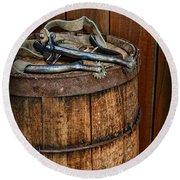 Cowboy Spurs On Wooden Barrel Round Beach Towel