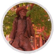 Cowboy Statue In Front Of The Brown Palace Hotel In Denver Round Beach Towel