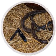 Cowboy Theme - Horseshoes And Whittling Knife Round Beach Towel