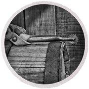 Cowboy Themed Wood Barrel And Spur In Black And White Round Beach Towel