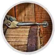 Cowboy Themed Wood Barrel And Spur Round Beach Towel by Paul Ward