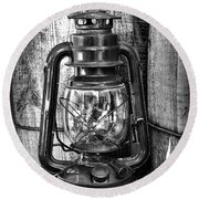 Cowboy Themed Wood Barrels And Lantern In Black And White Round Beach Towel