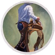 Cowboy With Saddle Round Beach Towel
