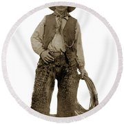 Cowboy With Woolies Cowboy Hat 1900 Round Beach Towel