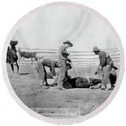 Cowboys, 1888 Round Beach Towel