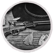 Cowboys And Indians In Black And White Round Beach Towel