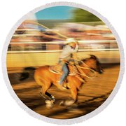 Cowboys Ride And Rope Cattle During San Round Beach Towel