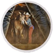 Cowgirl And Cowboy Round Beach Towel