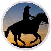 Cowgirl At Sunrise Round Beach Towel